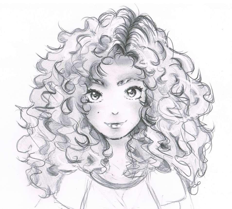 16 Curly Hair Drawing Anime In 2020 Girl Drawing Sketches Manga Hair Cartoon Drawings