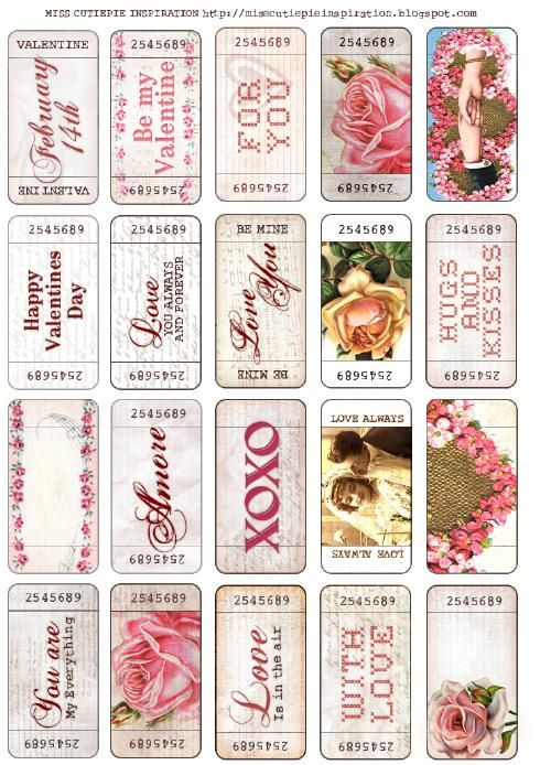 Free printable vintage style valentines day tickets