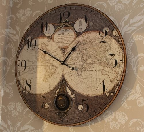 Wooden wall atlas clock re travel pinterest wooden walls map wooden wall atlas world map globe pendulum clock vintage kitchen office bedroom publicscrutiny Images