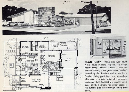 1961 Modern house plans Mid century modern house