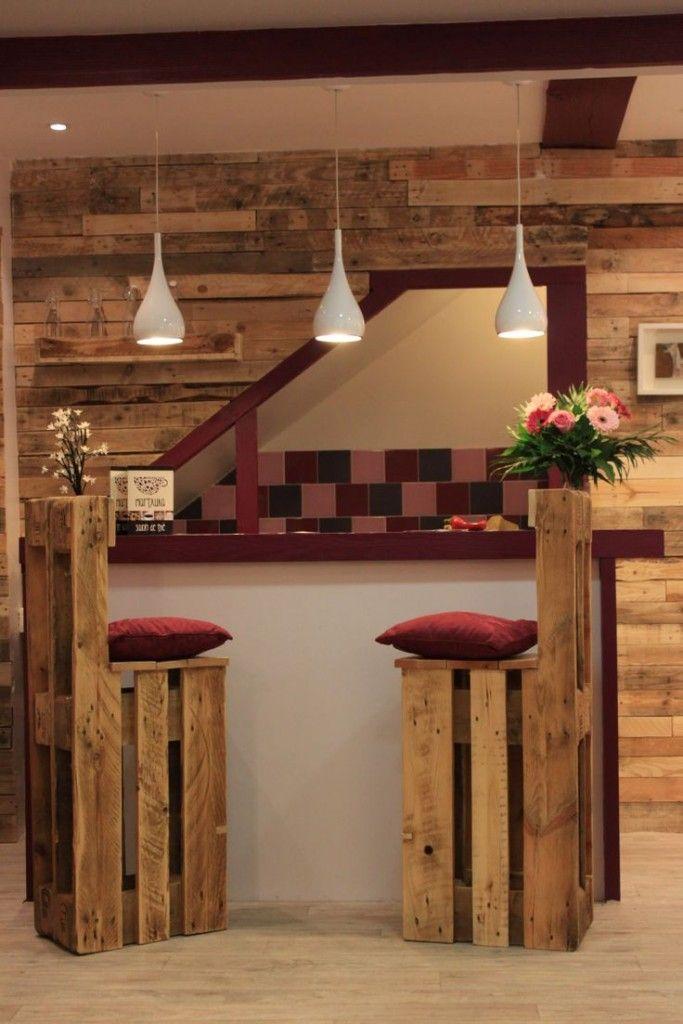 5 ideas de sillas de bar de palets muebles wood pallet - Palets muebles reciclados ...