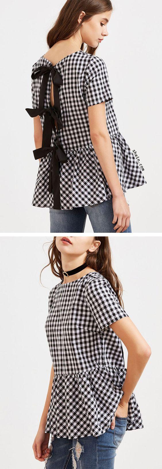 Black And White Checkered Bow Split Back Peplum Top