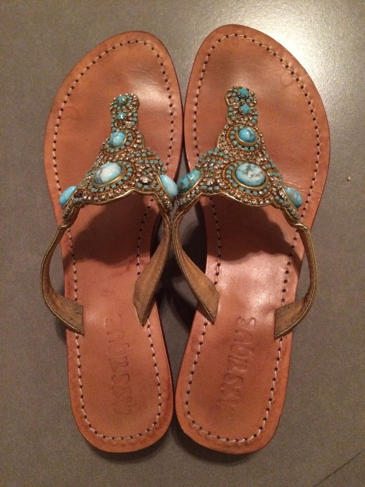 9303fa6f4f89 MYSTIQUE Turquoise Jeweled Beaded Gold Leather Thong Sandals Sz 8  Mystique   FlipFlops  Casual