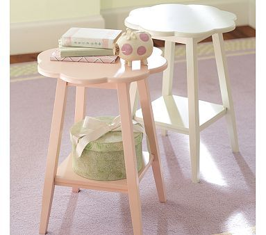 pink flower side table from pottery barn kids $69.00