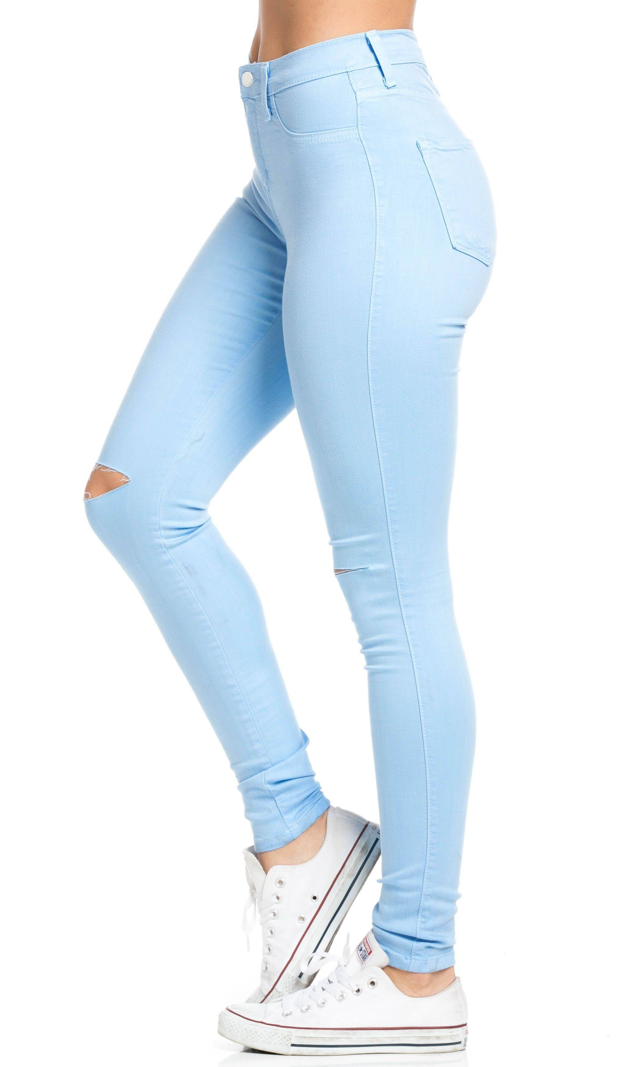 be3a3fe08 High Waisted Knee Slit Skinny Jeans in Baby Blue in 2019