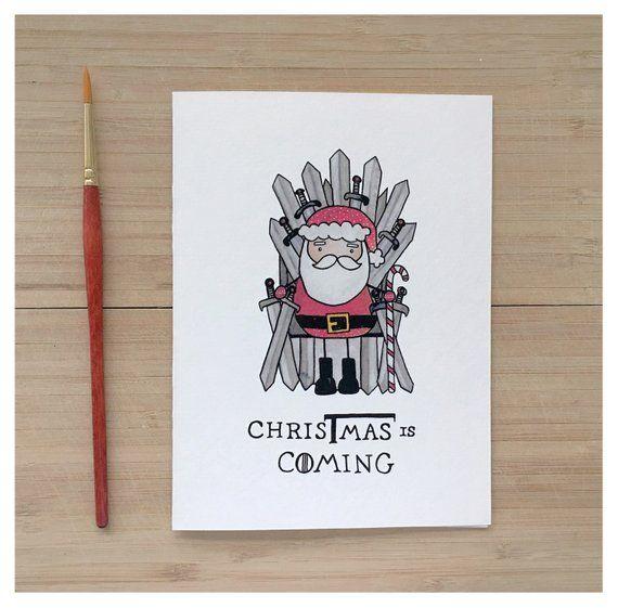 Bald ist Weihnachten / / Spiel der Throne, bekam, Spiel der Throne Weihnachtskarte, Weihnachten Wortspiel, Fandom Karte, Eisernen Thron, der Winter kommt, Wortspiel