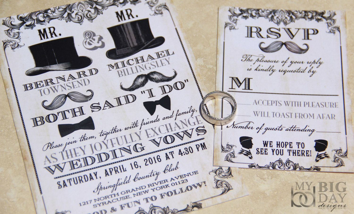 New Mr Mr Same Sex Themed Wedding Invitation Set Mens Gay