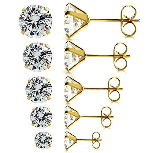 Nice 5 Pairs Orted Sizes Whole Lot Stainless Steel Cubic Zirconia Stud Earrings Hypoallergenic Nickel Free Lead Clear White Cz X