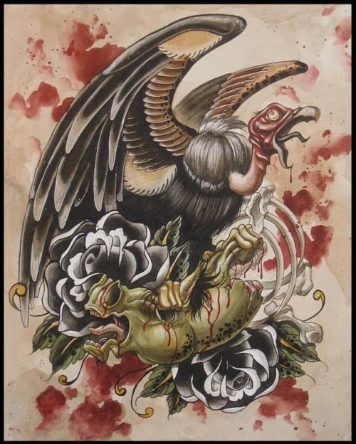 black rose and evil vulture tattoo 500 624 in the flesh pinterest tattoo. Black Bedroom Furniture Sets. Home Design Ideas