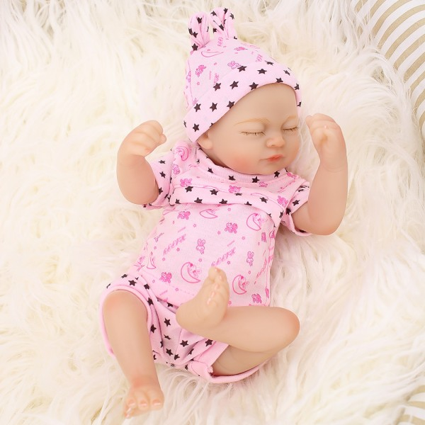 Smile Sleeping Girl Doll Lifelike Silicone Reborn Preemie Baby Doll 10inch Baby Dolls Preemie Babies Girl Dolls
