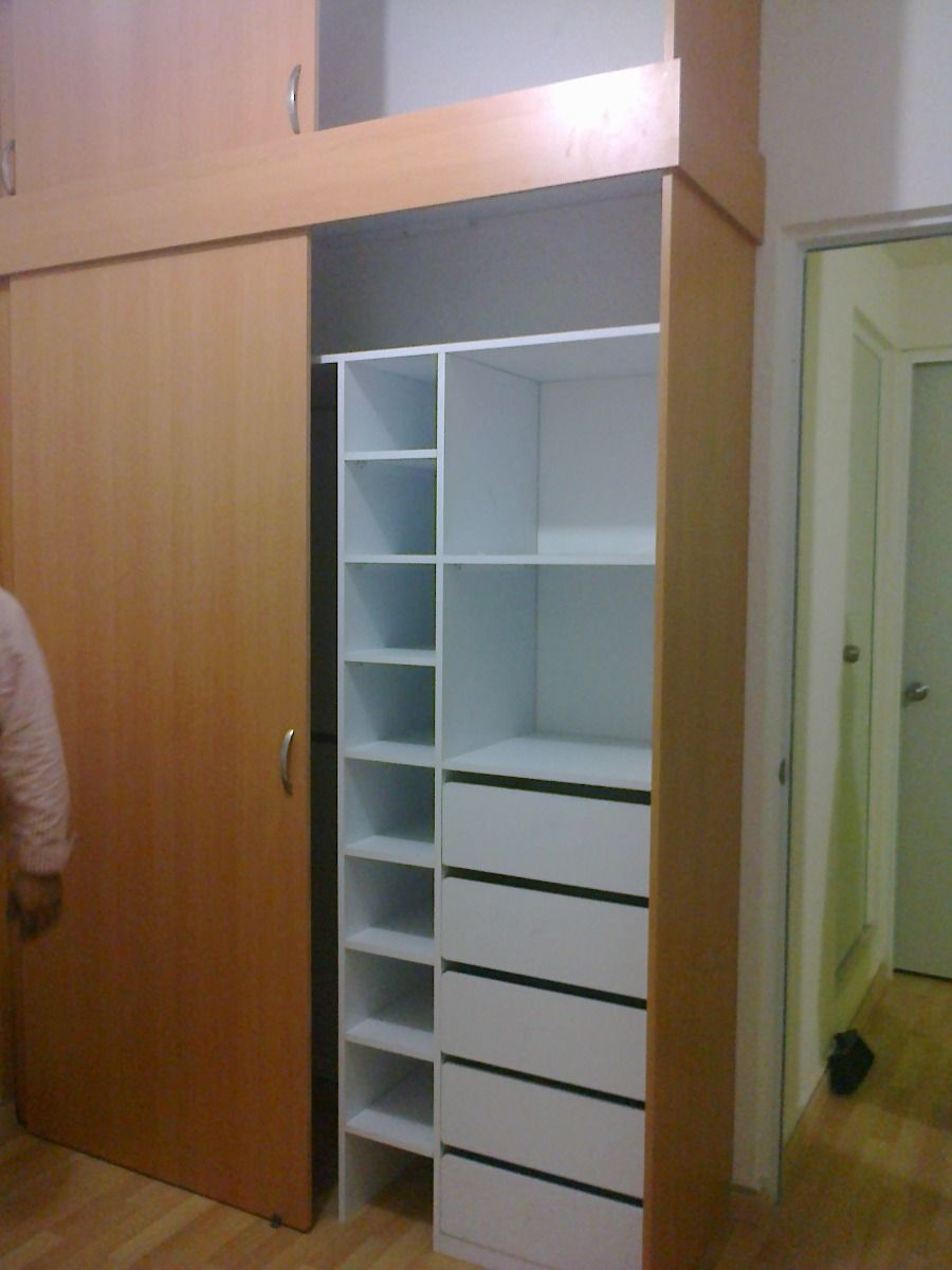 Closet Melamina Con Puertas Corredizas Blancas 3200