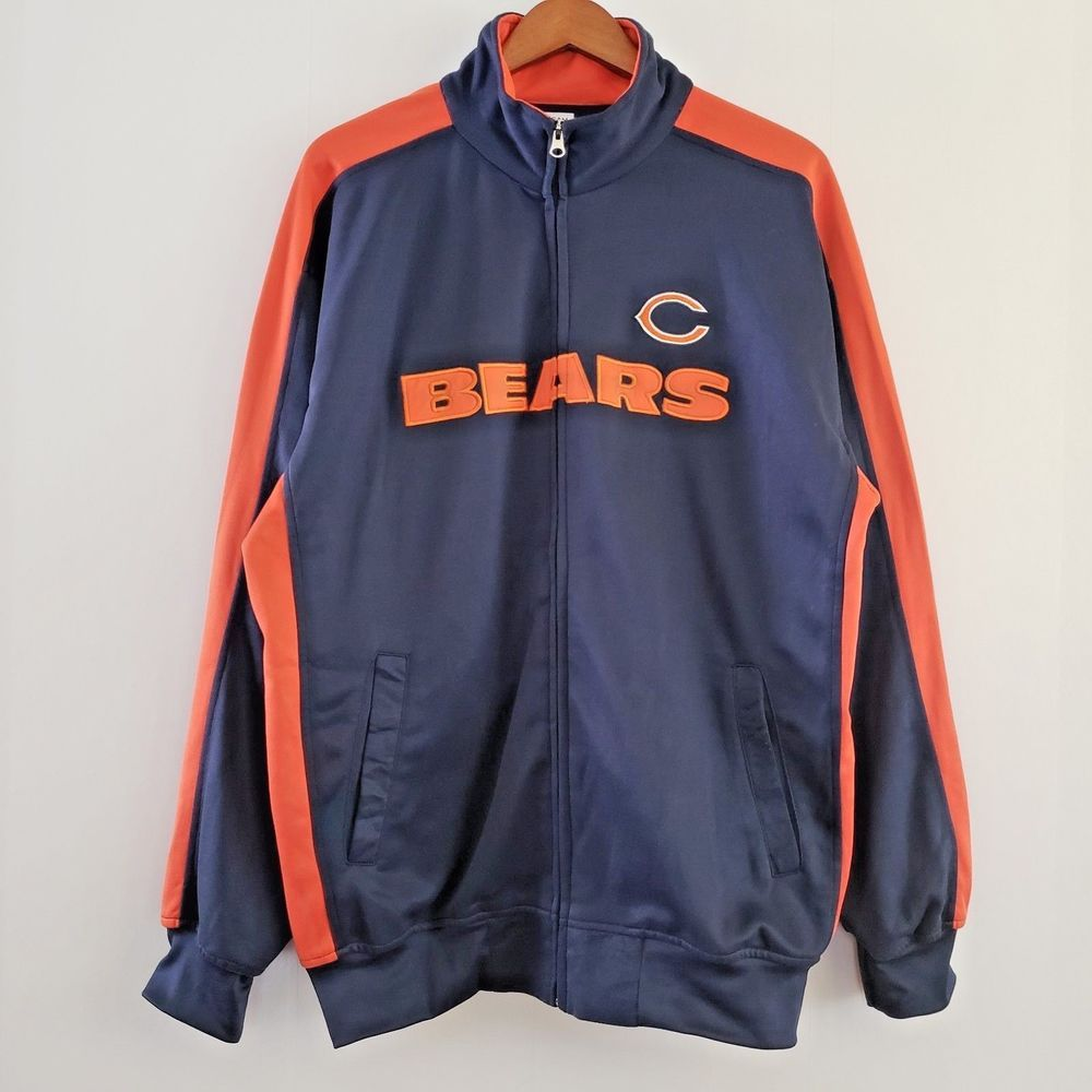 Nfl Chicago Bears Track Jacket Football Team Apparel Full Zip Navy Xlt Nfl Chicagobears Tops Women Blouses Nfl Team Apparel Men S Coats And Jackets