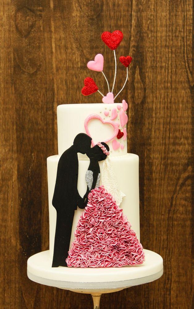 kissing silhouette wedding cake   cakes ideas en 2019   pinterest