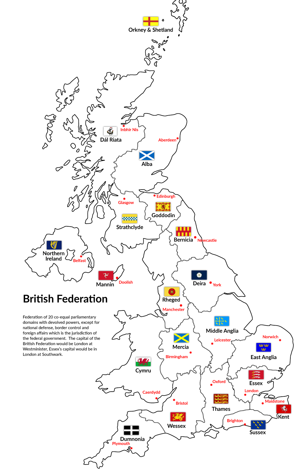Uk Map Of Britain.Maps On The Web Alternative Hypothetical British Federation