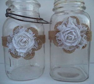 10 Handmade Burlap Flower White Mason Jar Country Barn Wedding Decorations