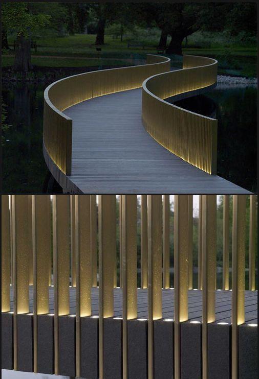 Best Minimalist Lighted Slat Bridge Railing With Images 400 x 300
