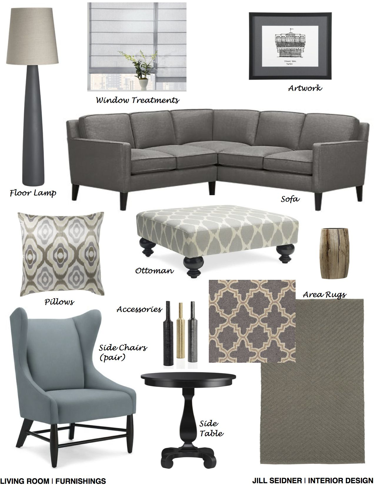 Cambridge, MA Online Design Project Living Room Furnishings Concept Board