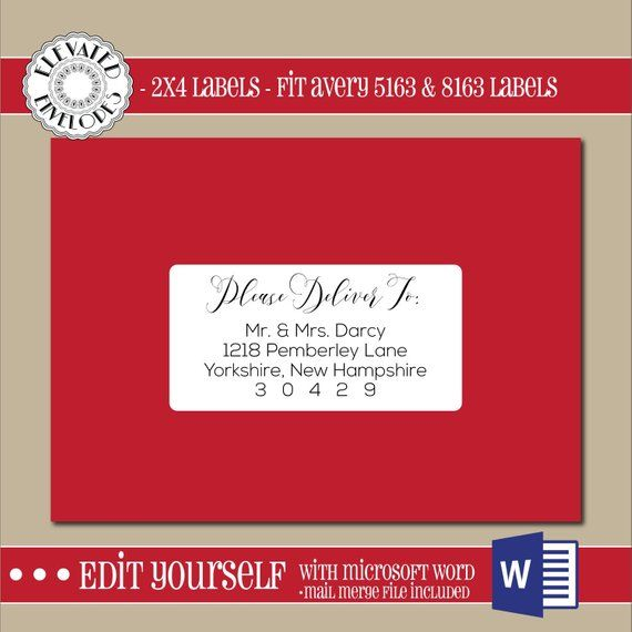 EDITABLE Christmas ADDRESS LABEL Template 2x4 Address Label