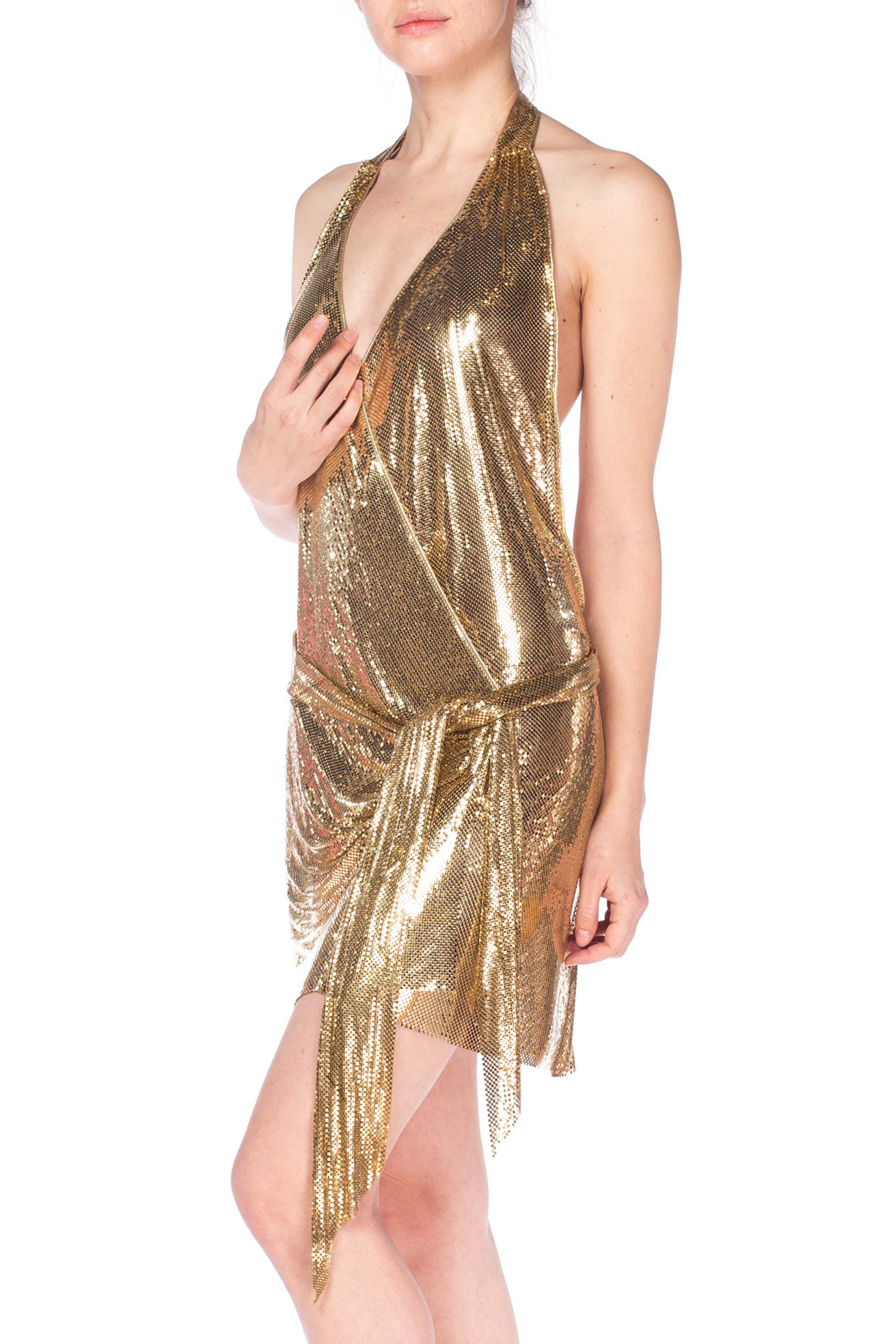 Morphew Backless Gold Metal Mesh Wrap Halter Dress Morphew Pretty Short Dresses Shiny Dresses Metal Mesh Dress [ 5184 x 3456 Pixel ]