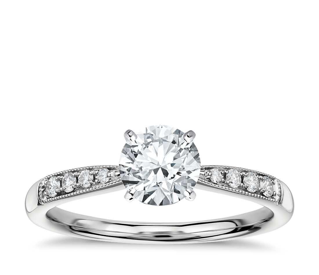 Petite Milgrain Diamond Engagement Ring 14k White Gold 1 10 Ct Tw Bluenile Engagement Ring Cathedral Diamond Engagement Ring Custom Diamond Engagement Rings