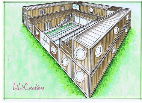 MAISON CONTAINER HACIENDA Haciendas, Arquitetura and House - plan maison en forme de u