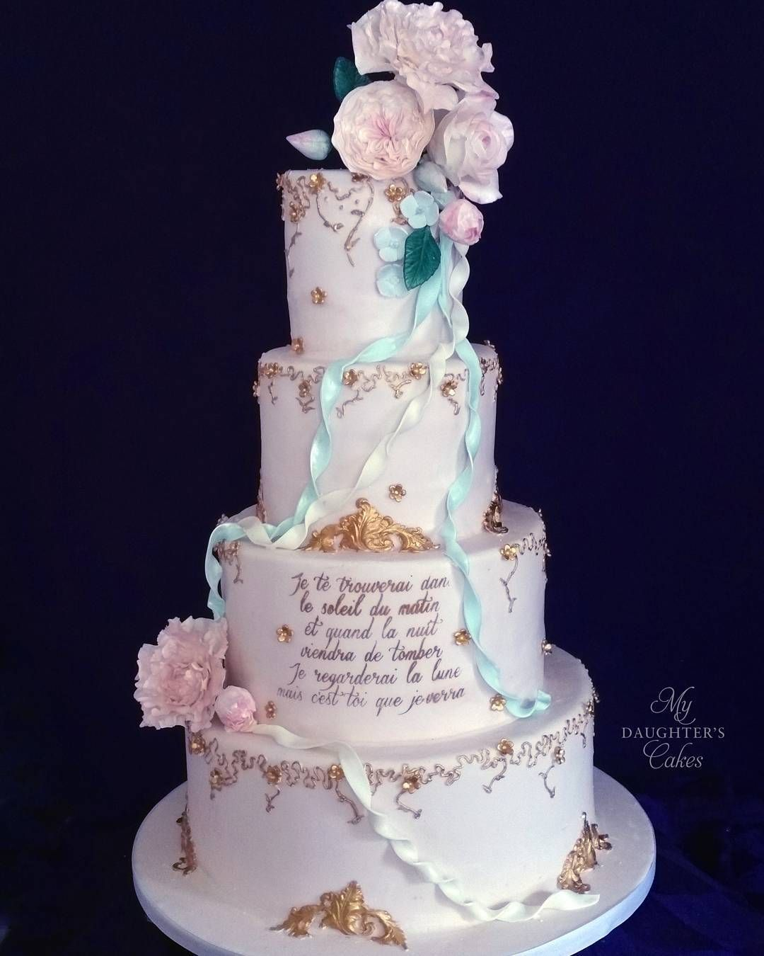 Wedding Cakes Inspired By China Patterns: French-inspired #weddingcake In #blush With Delicate