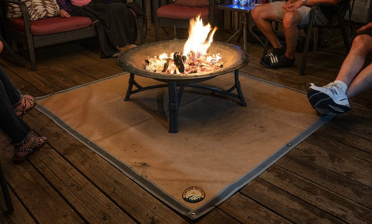 Ember Mat Protect The Area Underneath Your Bbq Grill Or Fire Pit From Grease And Popping Embers Petagadget Fire Pit Mat Fire Pit Cool Fire Pits