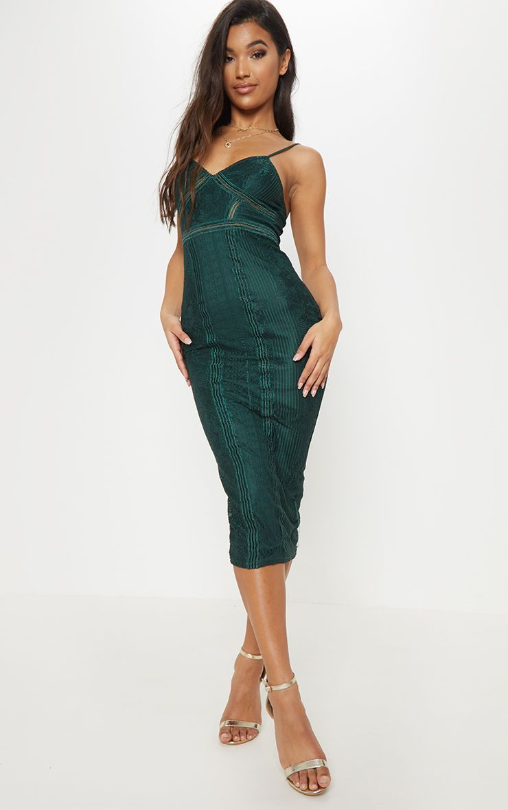 f48f0ce6a3d Emerald Green Lace Mesh Stripe Insert Midi Dress in 2019