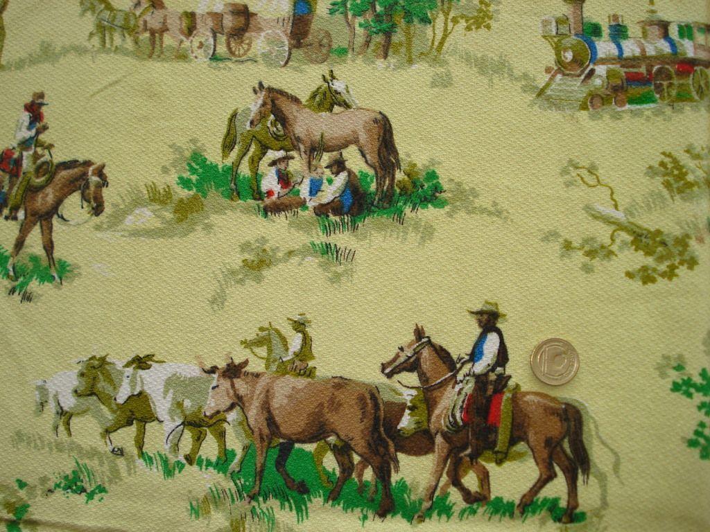 vintage barkcloth cowboys fabric