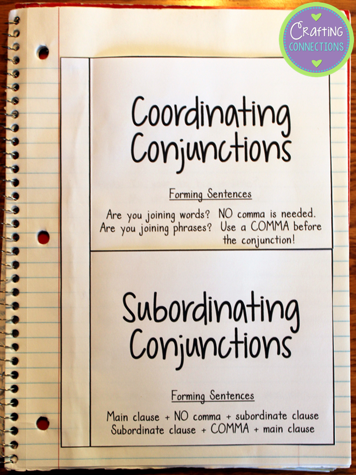 Conjunction Anchor Chart | Free interactive notebook, Anchor charts ...