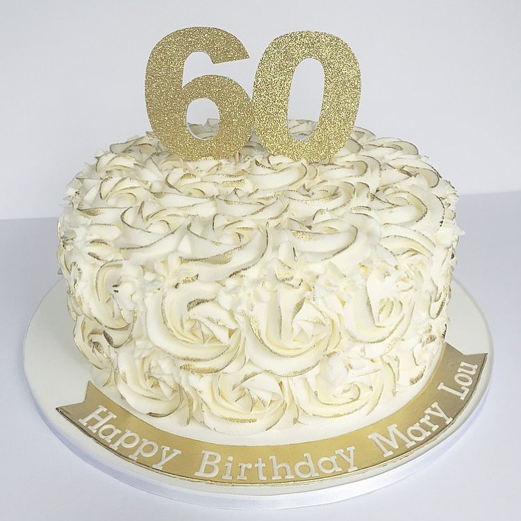 Enjoyable Gold Rosette 60Th Birthday Cake With Images 60Th Birthday Funny Birthday Cards Online Fluifree Goldxyz