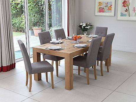 Lindos Dining Table U0026 8 Grey Lucy Chairs