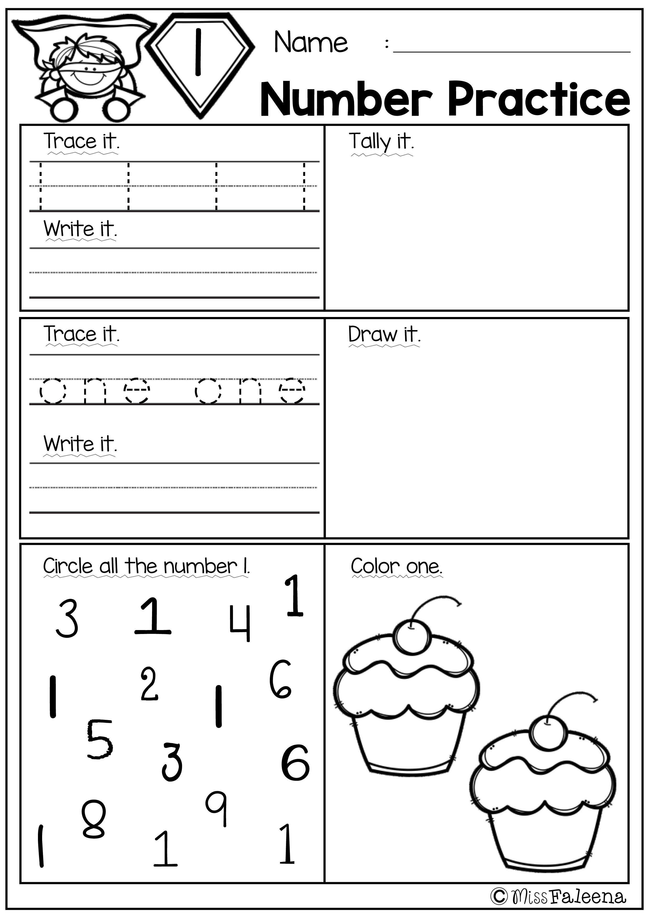 Free Number Practice With Images Kindergarten Math Worksheets