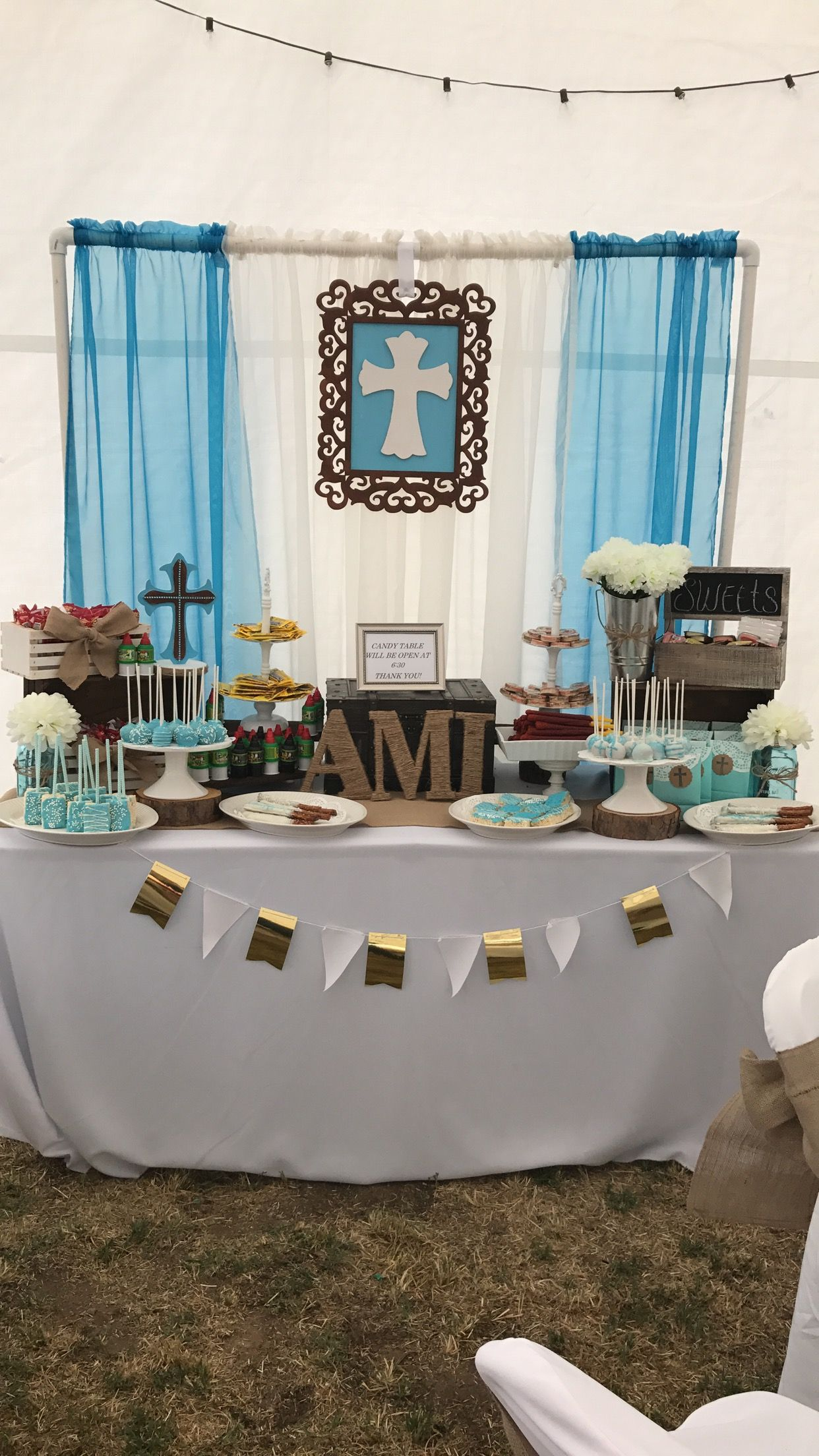 Rustic Candy Table Baptism Boy Rustic Baptism Party