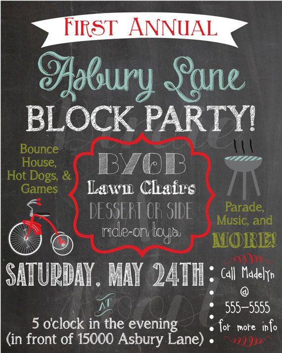 Custom Summer Chalkboard Block Party Invitation By Birdieandroost