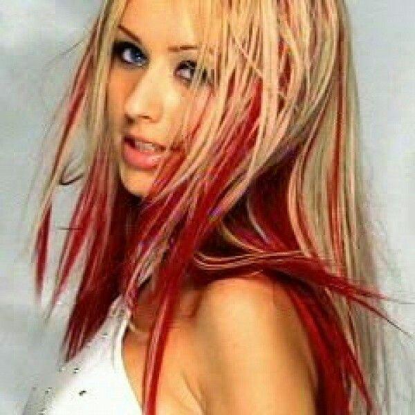 Red Tips Hair Streaks Blonde Hair Red Streaks Red Blonde Hair