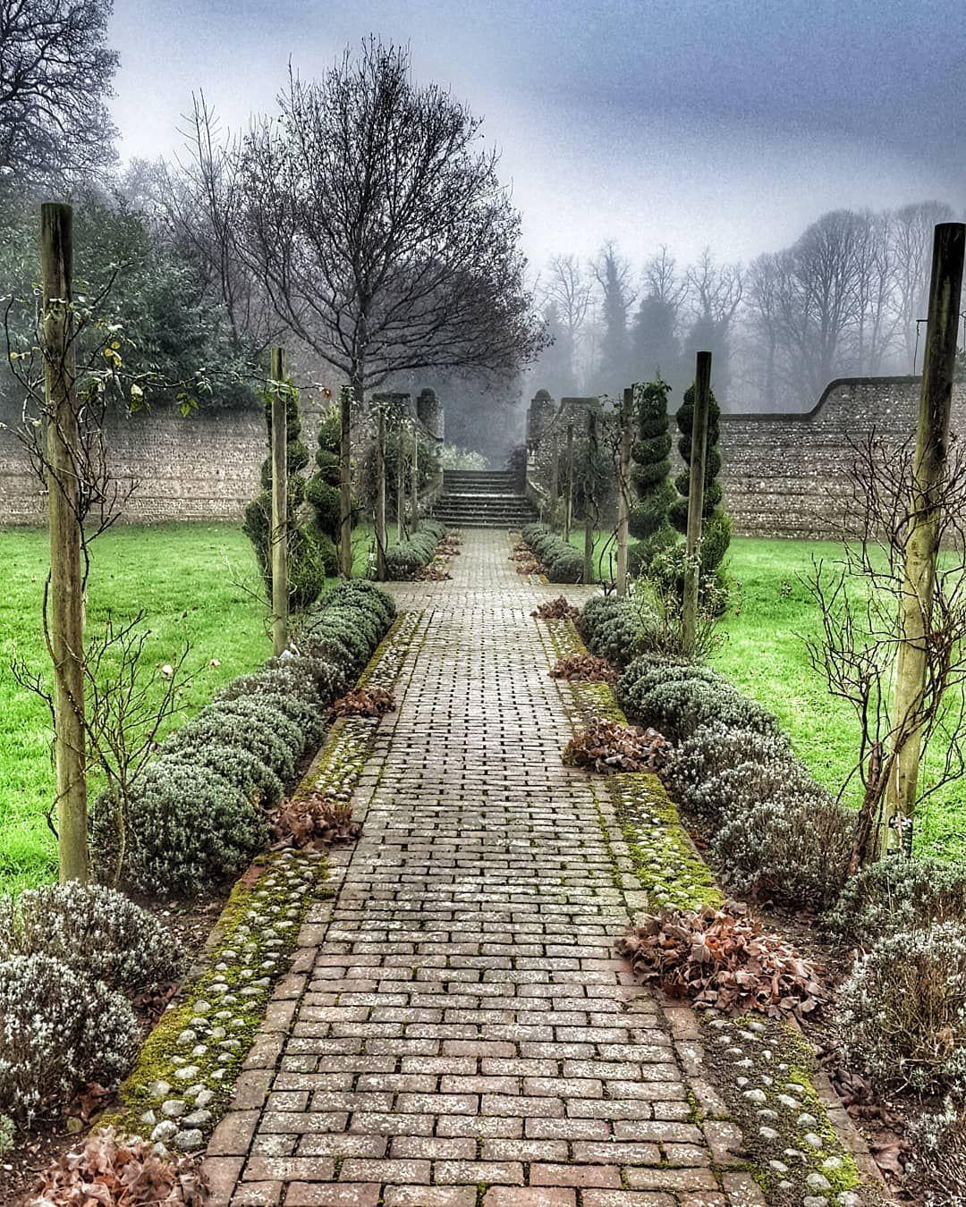 Walled garden at Voewood House. Garden wall, Garden