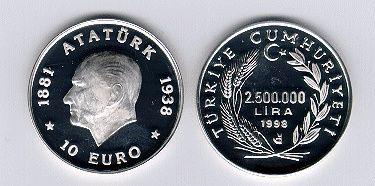 10 Euro-1998-çil.. - GÜMÜŞ HATIRA PARALARI.