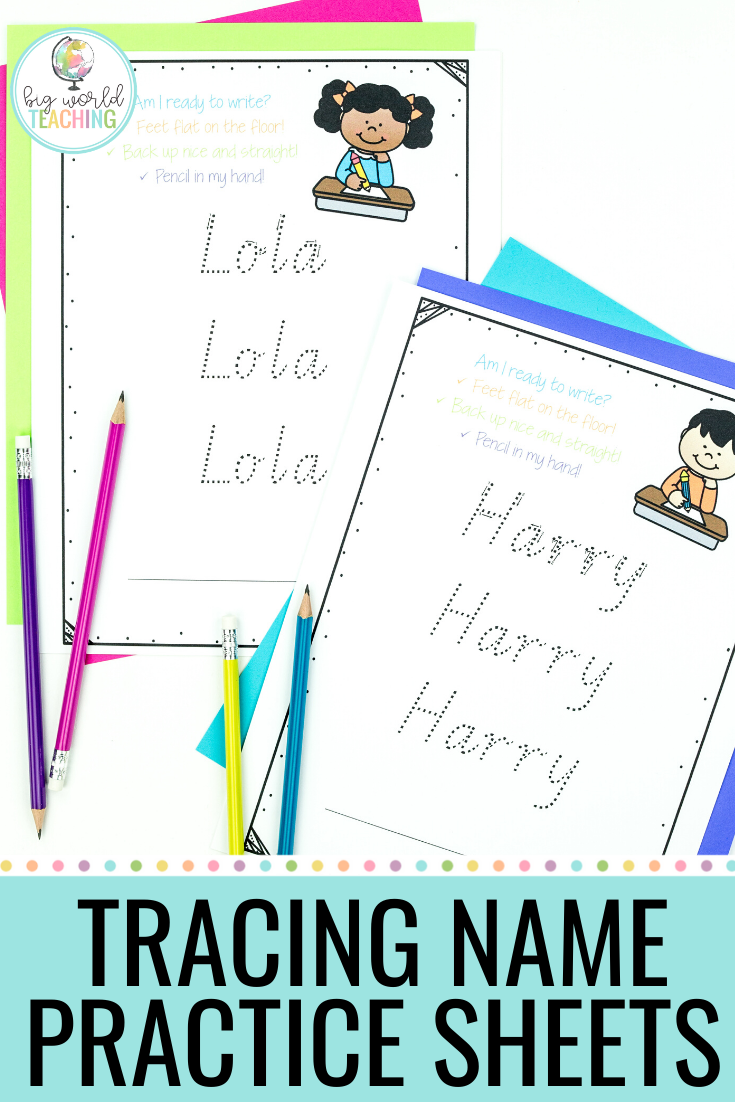 Tracing Name Practice Sheets Kindergarten writing