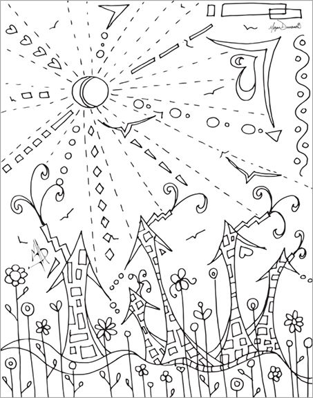 Whimsical Seuss Like Village Free Coloring Page Download ...