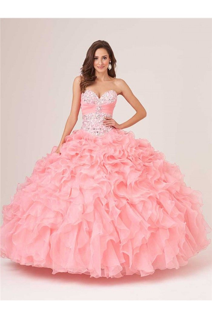 Ball Gown Baby Pink Organza Ruffle Beaded Quinceanera Prom Dress ...