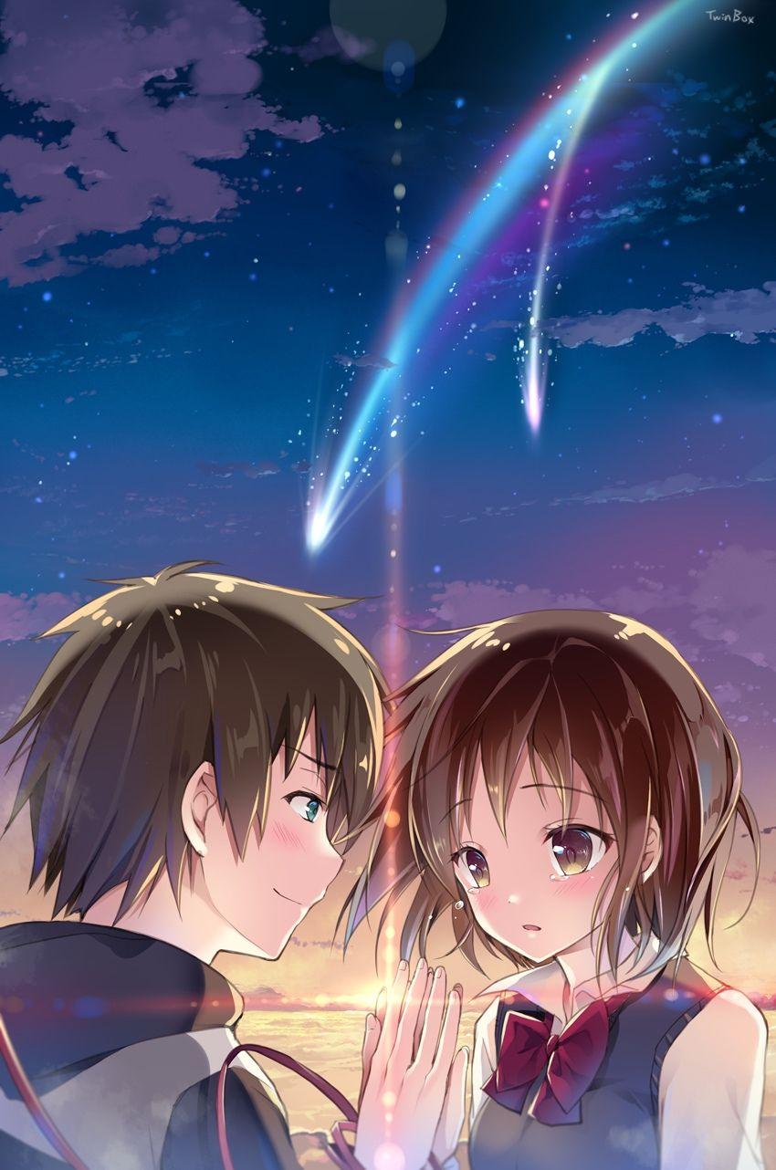Kimi No Na Wa Wallpaper Couple Love Anime Art Animasi Pasangan Animasi Gambar Anime
