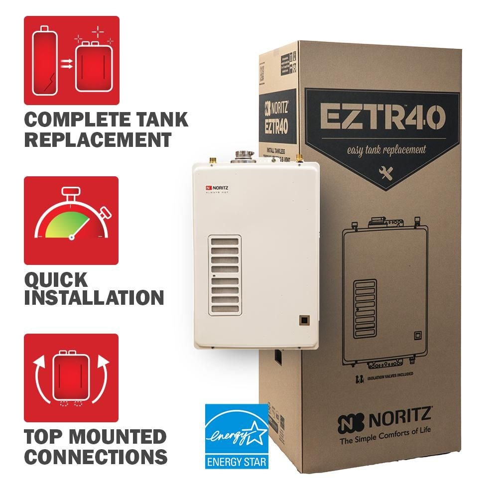 Noritz 40 Gal Tank Replacement Natural Gas High Efficiency Indoor Tankless Water Heater W 12 Year Warranty And Wi Fi Capable Water Heating Home Depot