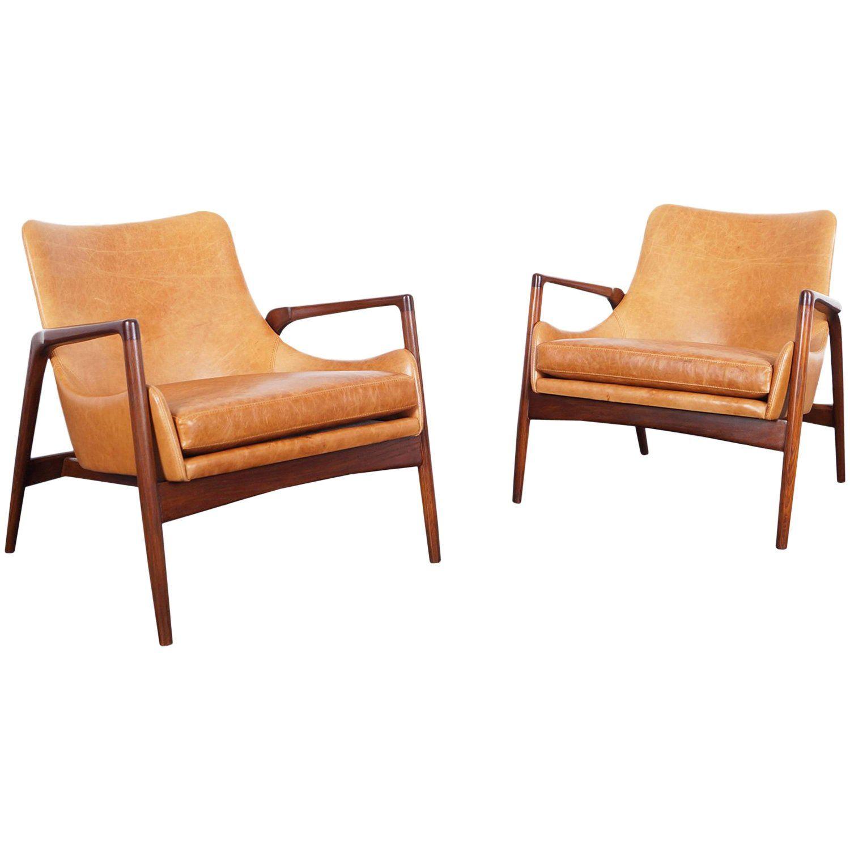 Beau Danish Modern Leather Lounge Chairs By Ib Kofod Larsen