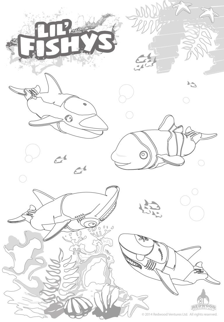 Lil Fishys swim and bath toys coloring pages Coloring