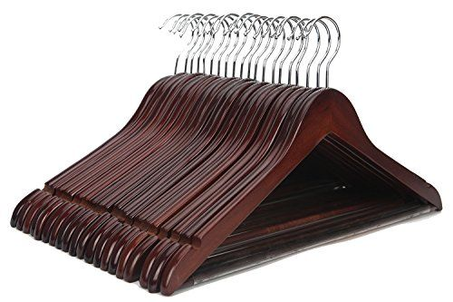 J.S 20 Pack Hanger Solid Wooden Suit Hangers Natural Finish with Anti-Rust Hooks and Non-Slip Bar