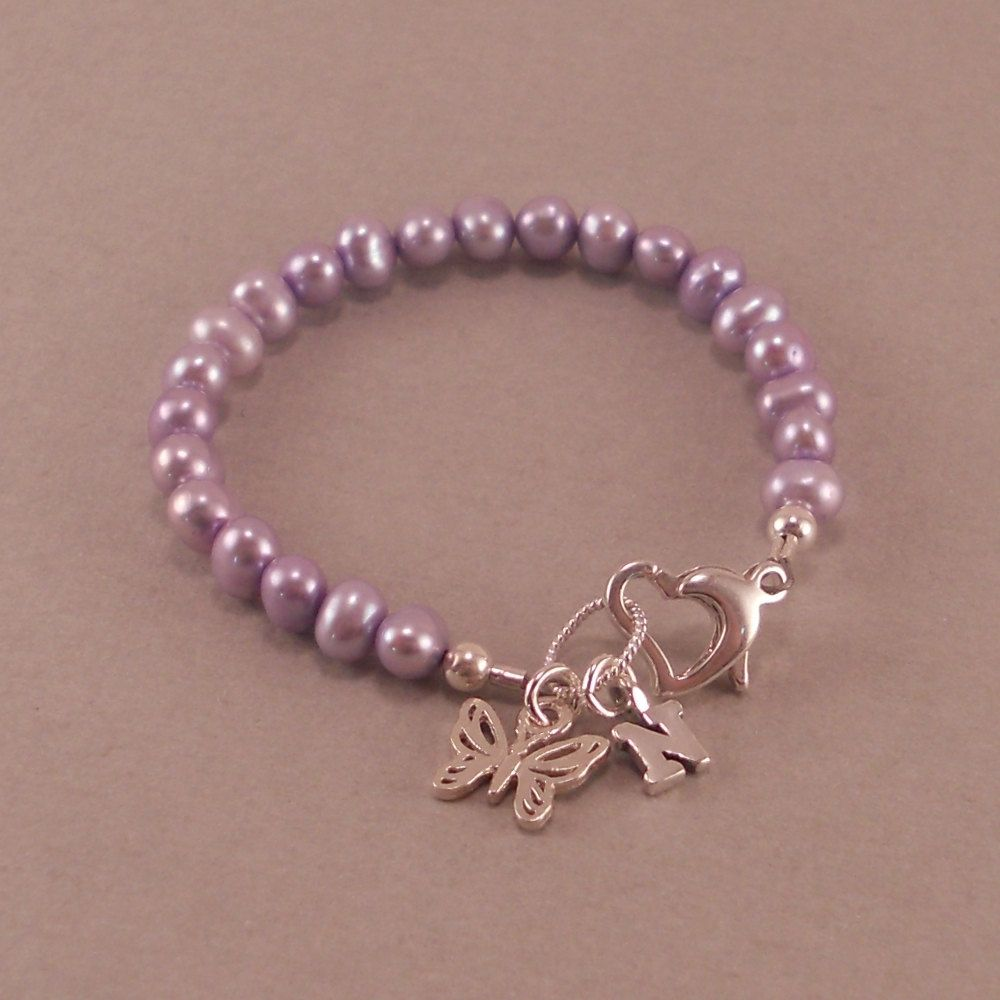 Baby Girl Gift Childs Monogram Bracelet Sterling Silver First Birthday Gifts Personalize Purple Pearls Jewelry Childrens Butterfly 3600