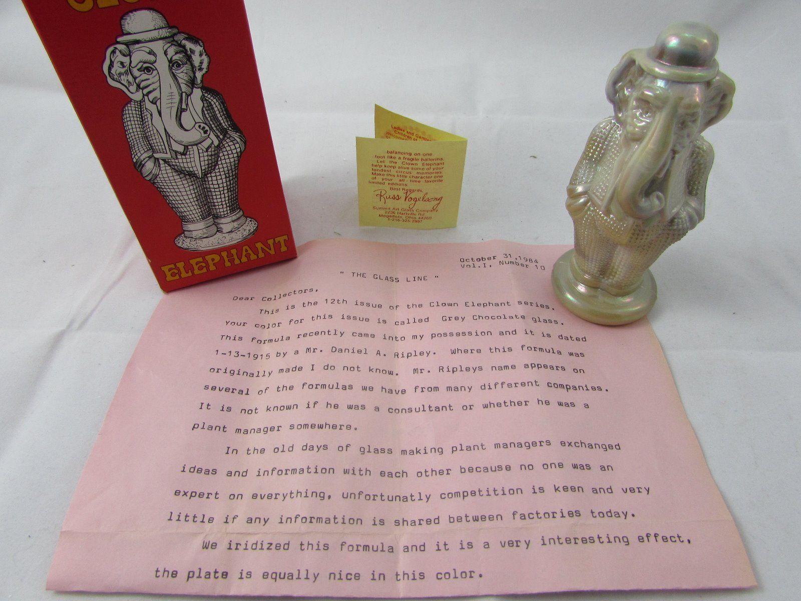 Summitt Art Glass Clown Elephants Vintage Set of Thirteen Complete Set 1983 EXC   eBay
