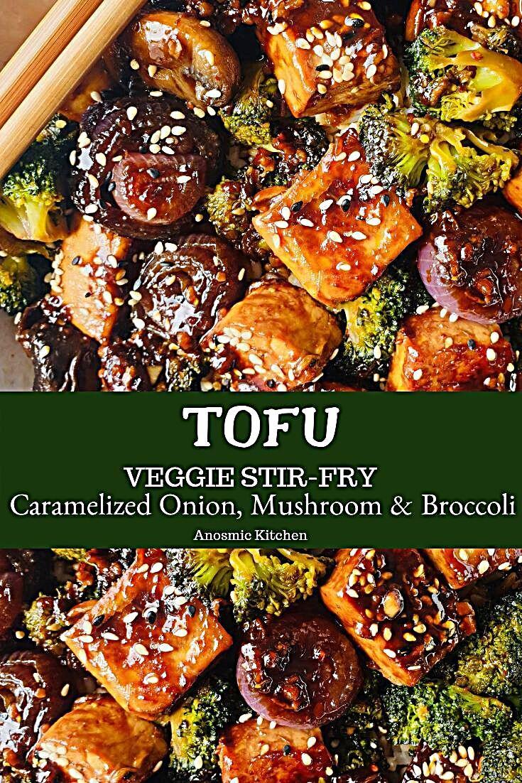 Veggie Tofu Stir-fry Recipe Veggie Tofu Stir-fry Recipe with caramelized red onion, mushrooms and br...