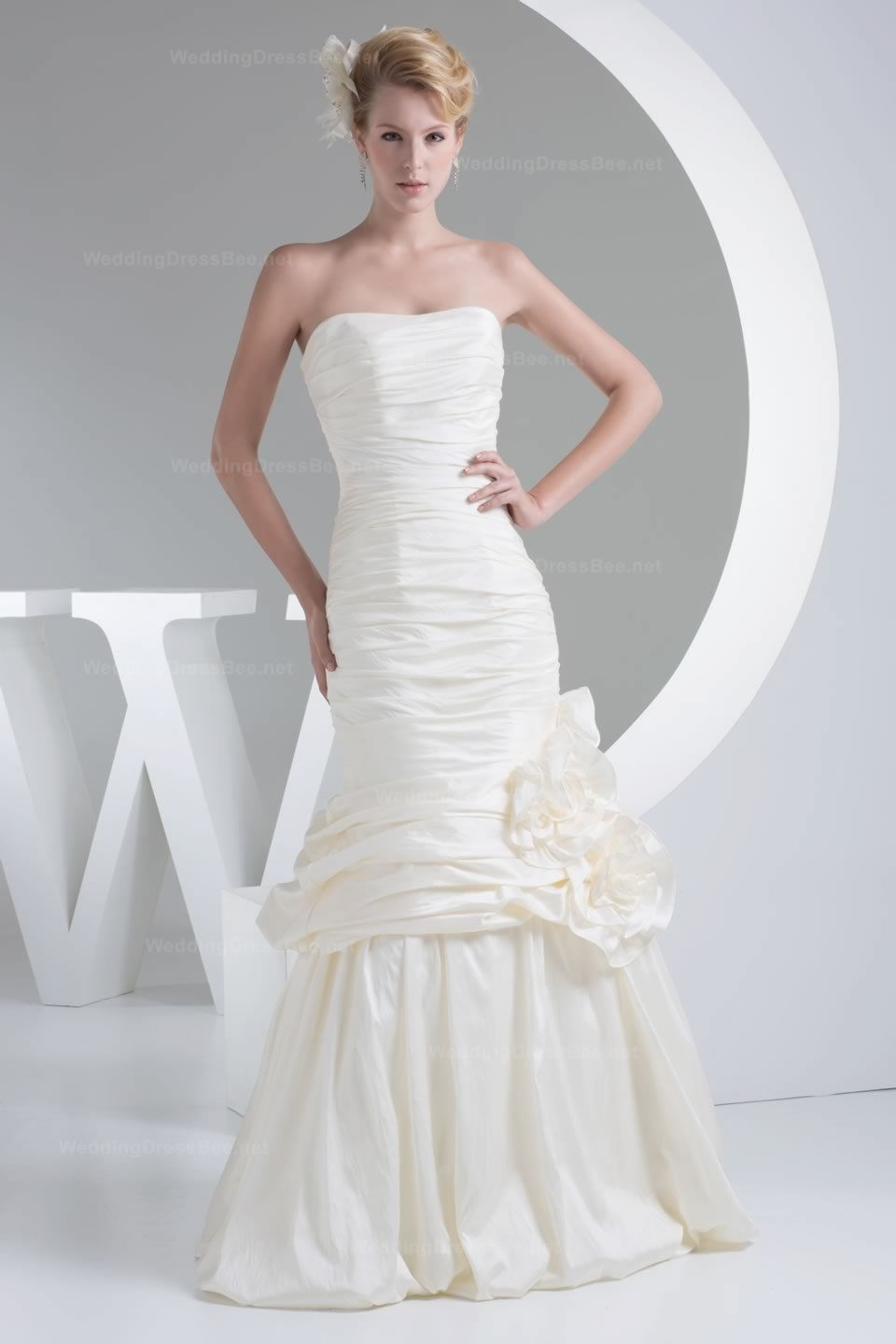 Wedding dress with color  Stunning Ruffle And Hand Made Flowers Detailed Solid Color Taffeta